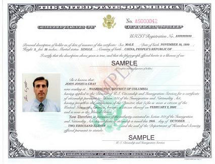 Naturalization Certificate Issued by US Citizenship and Immigration Service